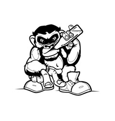 grinking cartoon monkey vector image
