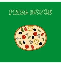 Hand drawn colorful pizza with slogan vector image