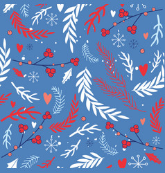 hand drawn seamless background pattern winter vector image