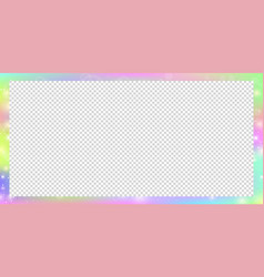 Holographic magic rectangle frame with fairy vector