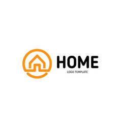 home linear logo smart house line art vector image
