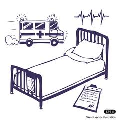 Hospital bed and ambulance vector