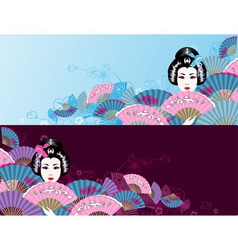 Japanese horizontal geisha background vector image