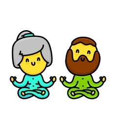 Kawaii cartoon style old couple doing yoga vector image