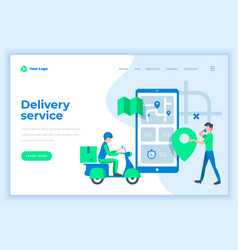 Landing page template delivery service concept vector