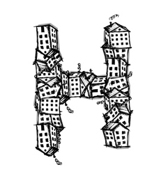 Letter H made from houses alphabet design vector image