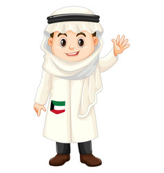 Little boy in kuwait costume vector