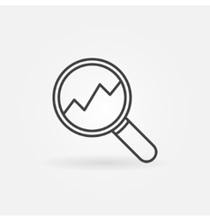 Magnifying glass with rising chart icon vector