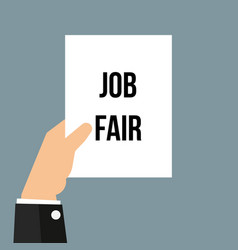 Man showing paper job fair text vector