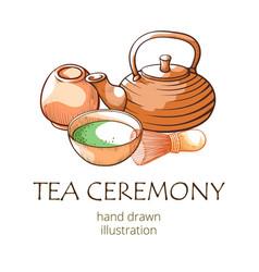 matcha tea oriental ceremony hand drwan banner vector image