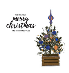 merry christmas tree in wood crate decorated with vector image