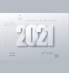 Modern paper art design template with 2021 vector