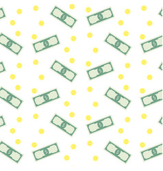 money banknote and coins seamless pattern vector image