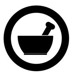 Mortar and pestle icon black color in circle or vector