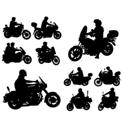 motorcyclists silhouettes collection vector image
