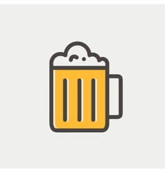 Mug of beer thin line icon vector