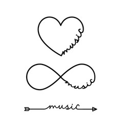 music - word with infinity symbol hand drawn vector image