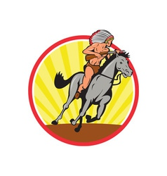 Native american indian chief riding horse vector