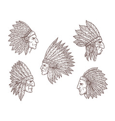 native american indian chiefs with feathers vector image
