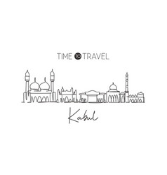 One single line drawing kabul city skyline vector