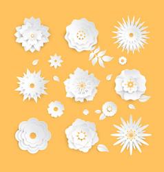 paper cut flowers - set modern colorful vector image