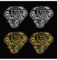 pattern elephant head outline black background vector image