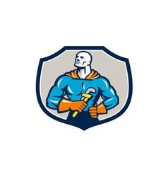 Plumber Superhero Monkey Wrench Crest Retro vector