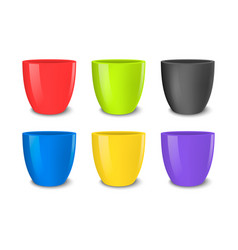 realistic empty flower pot set bright vector image