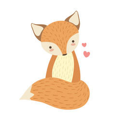 Red fox cute toy animal with detailed elements vector