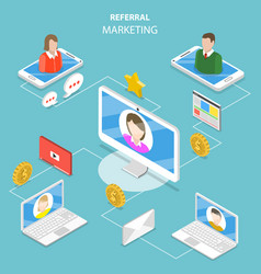 Referral marketing flat isometric concept vector