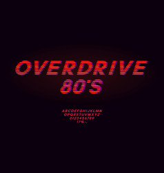 Retrowave synthwave red font design in style vector