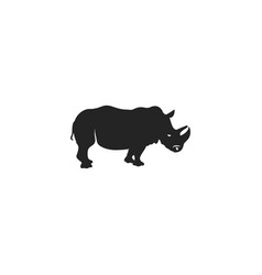 rhino black icon rhinoceros silhouette symbol vector image