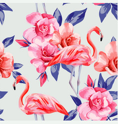 rose and pink flamingos vector image
