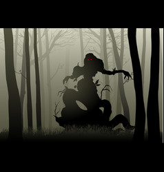 Scary monster in dark woods vector