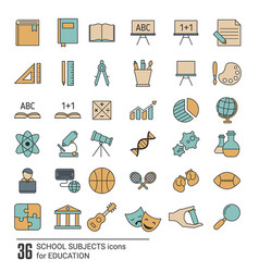 school subjects icon set school subjects icon set vector image