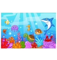 Sea life cartoon with fish collection set vector
