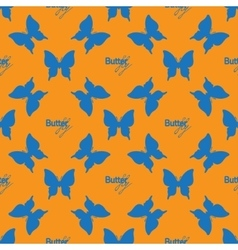 Seamless pattern with outline blue butterflies vector image