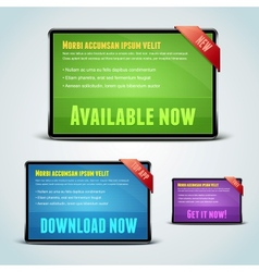 set 3 download banners for your website vector image
