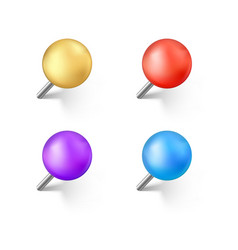 set color push pins with shadow realistic vector image