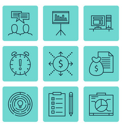 Set of 9 project management icons includes board vector