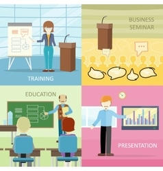 Set of Business Education Concepts in Flat Design vector image
