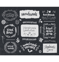 Set of hand drawn doodle frames badges vector