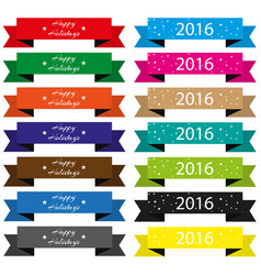 set of ribbons with christmas inscriptions colors vector image