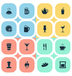 set of simple beverage icons vector image