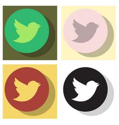 Set of tweet bird logotwitter icon buttonflat vector