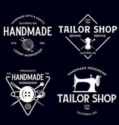 set vintage sewing and tailor labels badges vector image