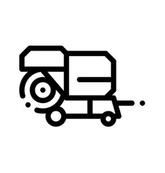 Shaking harvester vehicle thin line icon vector
