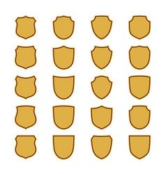 shield shape gold icons set simple flat logo on vector image