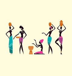 Silhouettes native african women vector