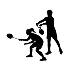 Silhouettes of mixed Team Badminton Players Mixed vector image